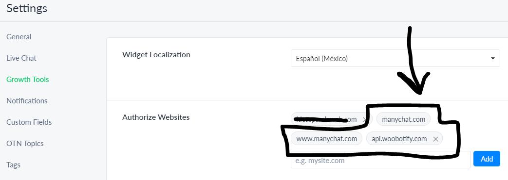 Whitelisting domains
